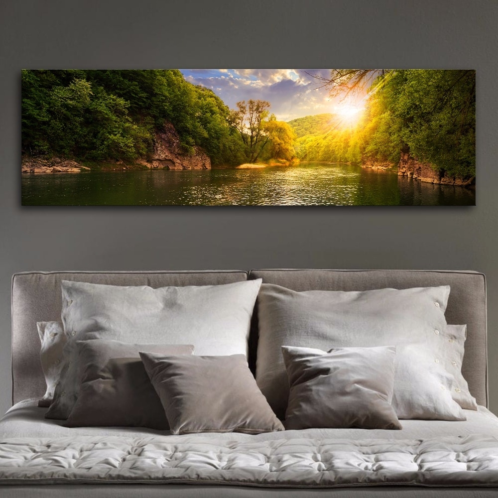 Large Panoramic Mountain Lakes Modern Wall Art Canvas Print Painting in Panoramic Wall Art (Image 11 of 20)