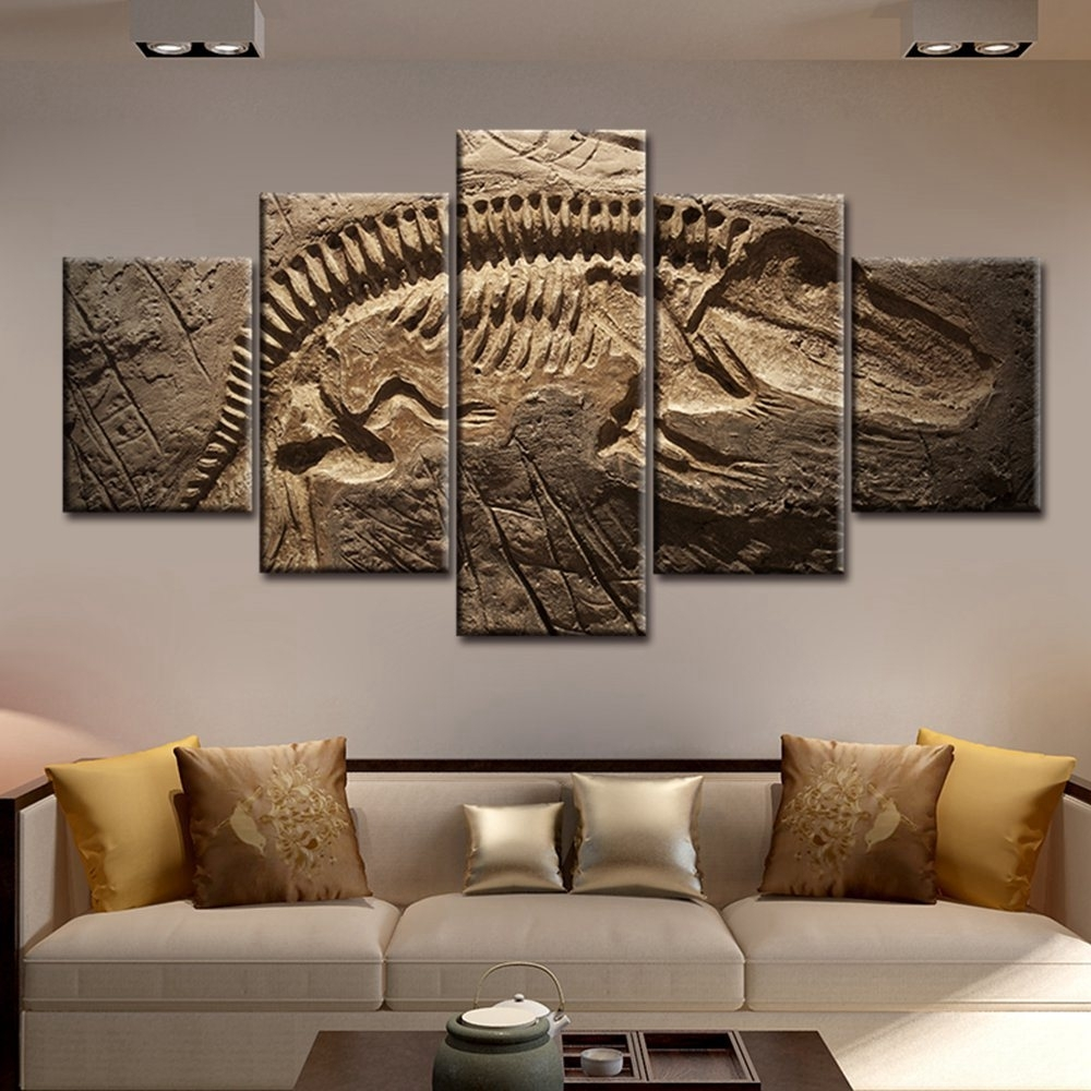 Large Picture Wall Art Living Room Decor Dinosaur Fossil Abstract In Wall Art For Living Room (View 8 of 20)