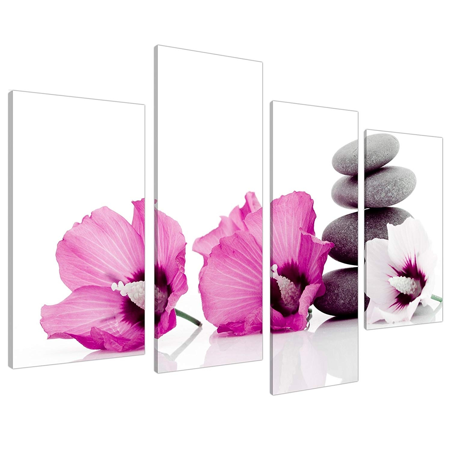 Large Pink Flower Floral Canvas Wall Art Pictures 130Cm Set Xl 4069 intended for Pink Wall Art (Image 12 of 20)