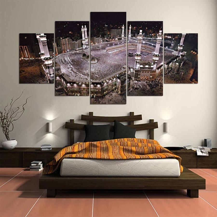 Large Poster Hd Printed Painting Canvas 5 Panel Kaaba Print Art Home with regard to Home Decor Wall Art (Image 13 of 20)
