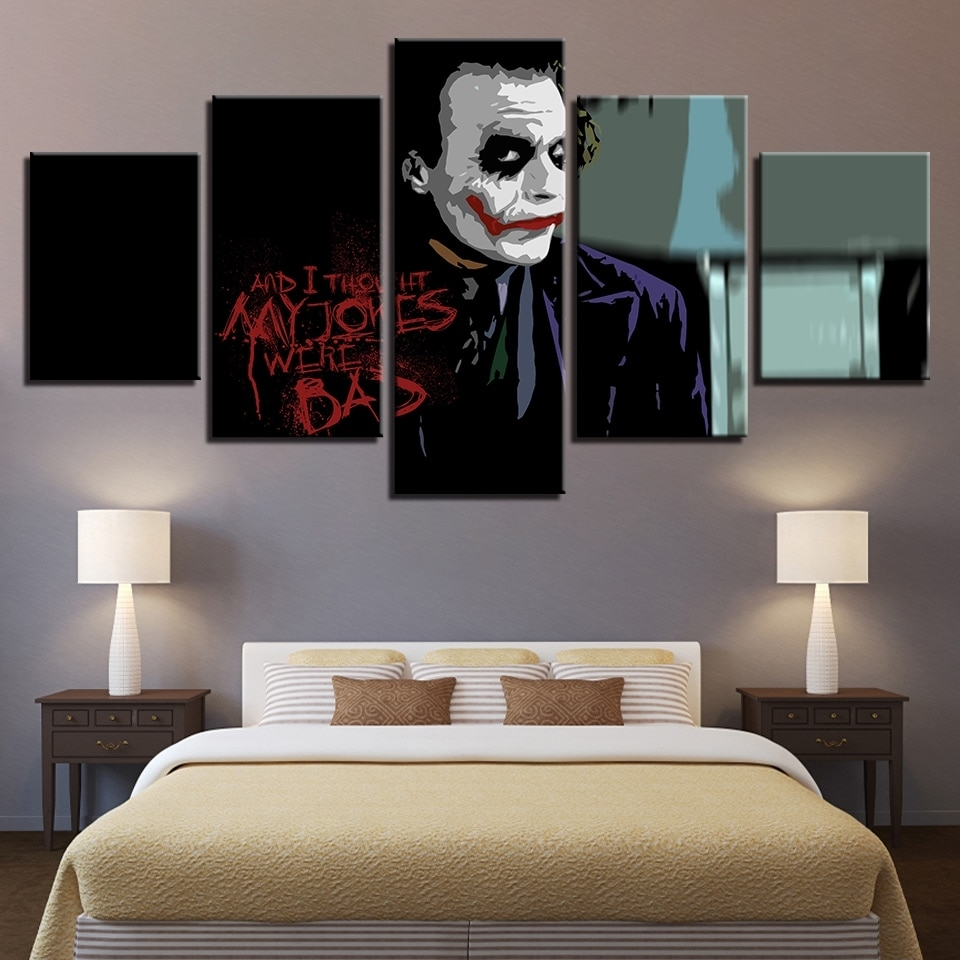 Large Poster Hd Printed Painting Canvas Home Decoration 5 Panel Inside Joker Wall Art (Image 16 of 20)