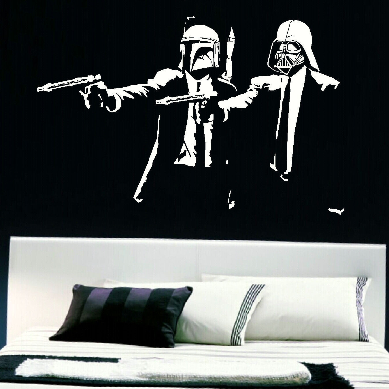 Large Pulp Fiction Darth Vader Boba Fett Wall Art Big Sticker in Darth Vader Wall Art (Image 12 of 20)