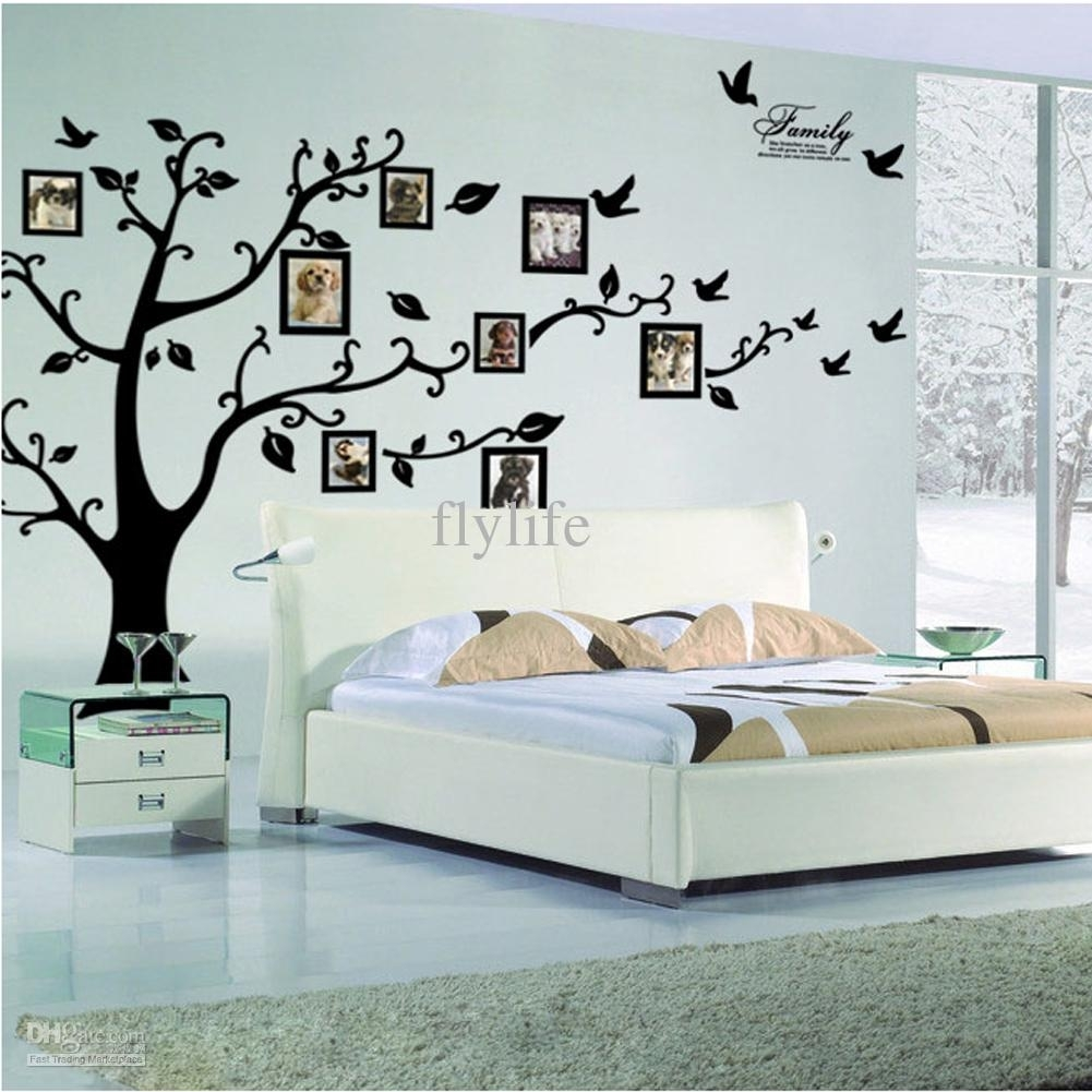 Large Size Black Family Photo Frames Tree Wall Stickers, Diy Home with regard to Home Decor Wall Art (Image 14 of 20)