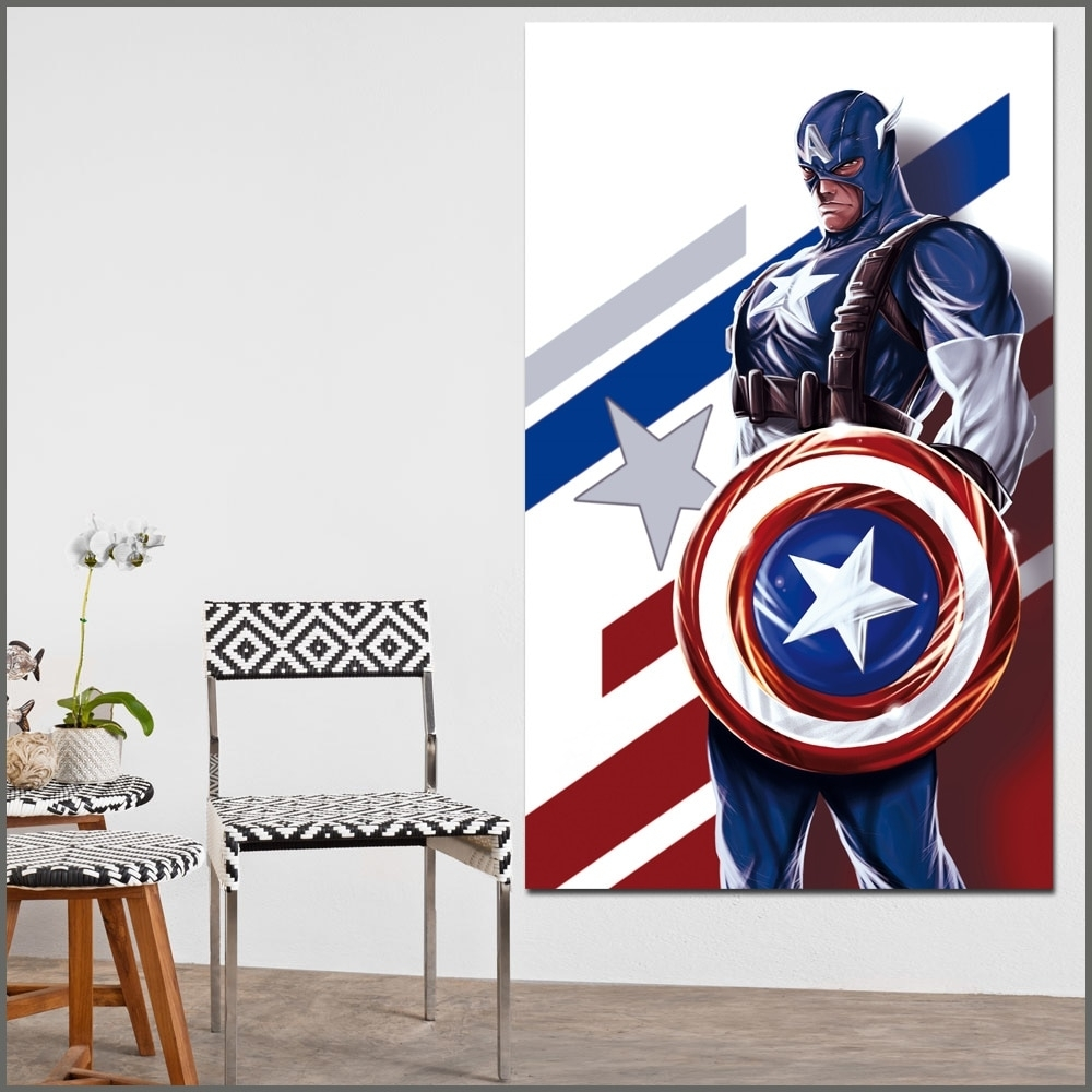 Large Size Oil Painting Heroes Comics Captain America Wall Art within Captain America Wall Art (Image 13 of 20)