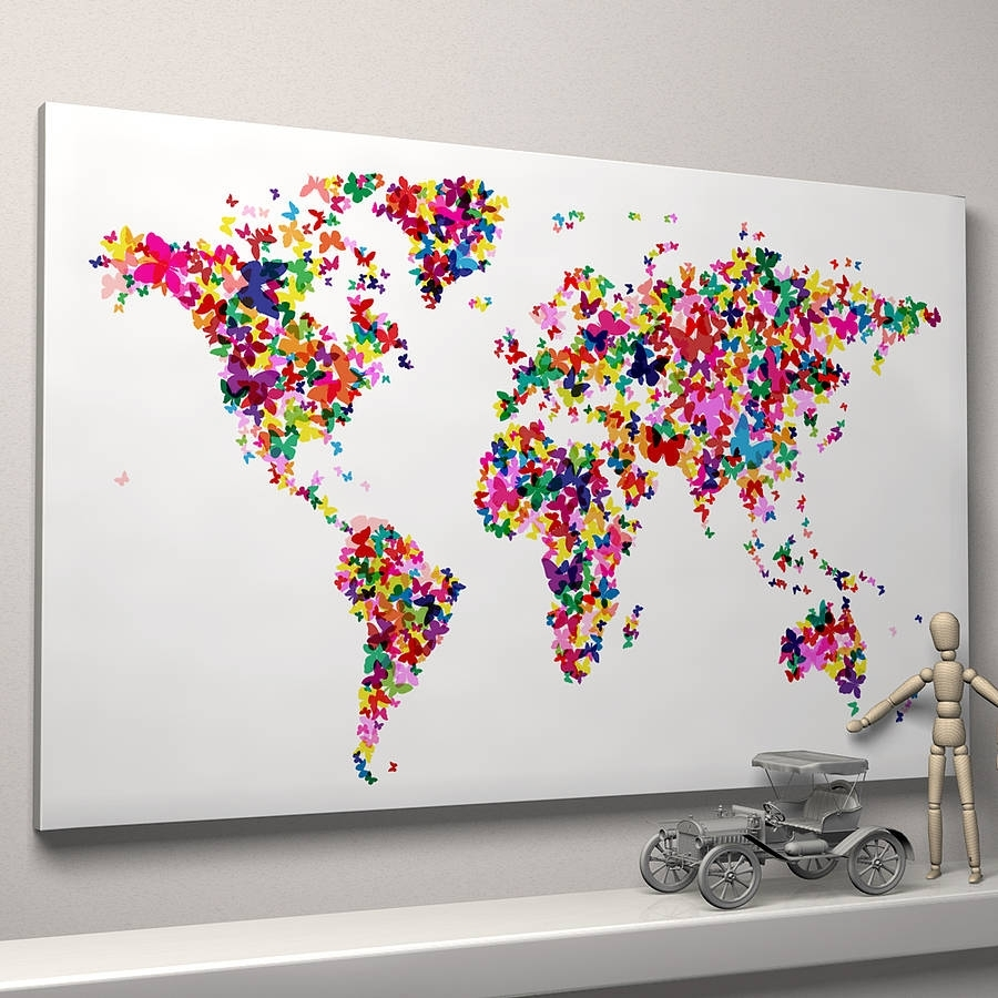 Large Size Wall Art World Map Painting On Canvas Prints National intended for Map Wall Art Prints (Image 6 of 20)