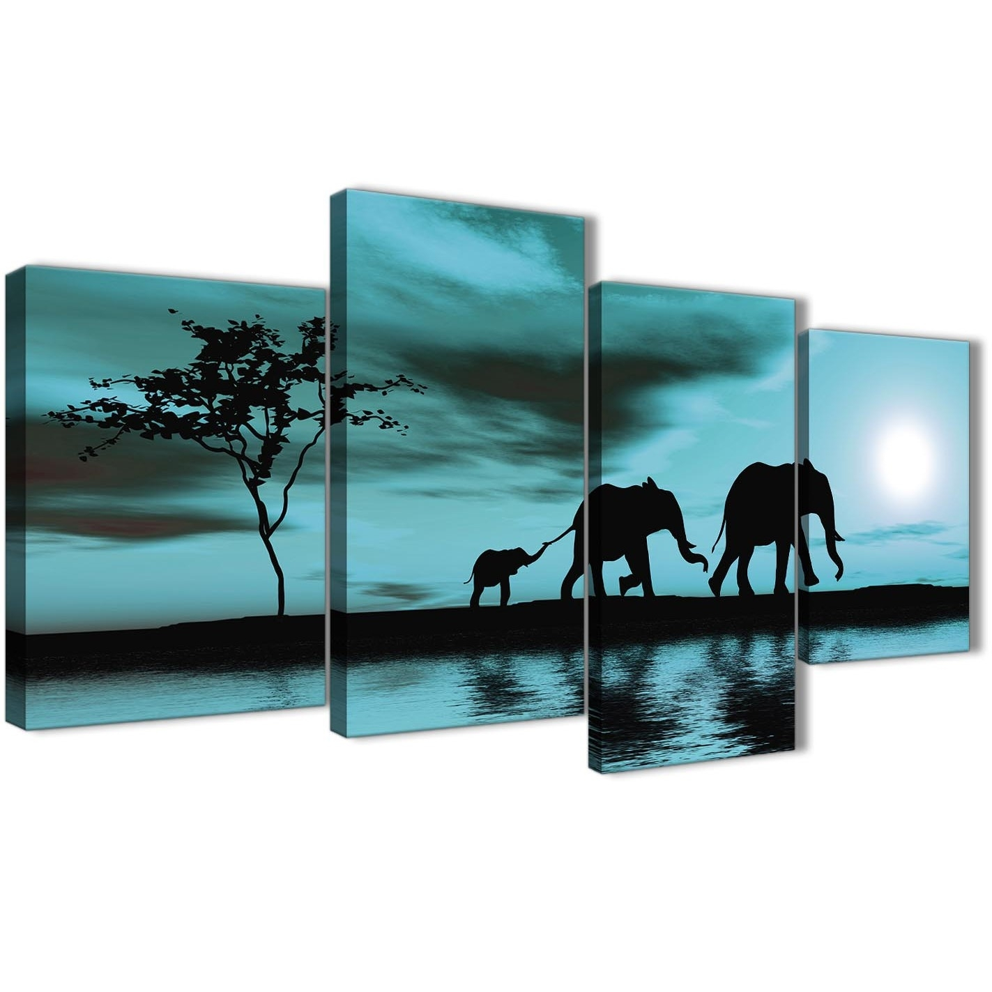 Large Teal African Sunset Elephants Canvas Wall Art Print - Multi 4 with Oversized Teal Canvas Wall Art (Image 13 of 20)