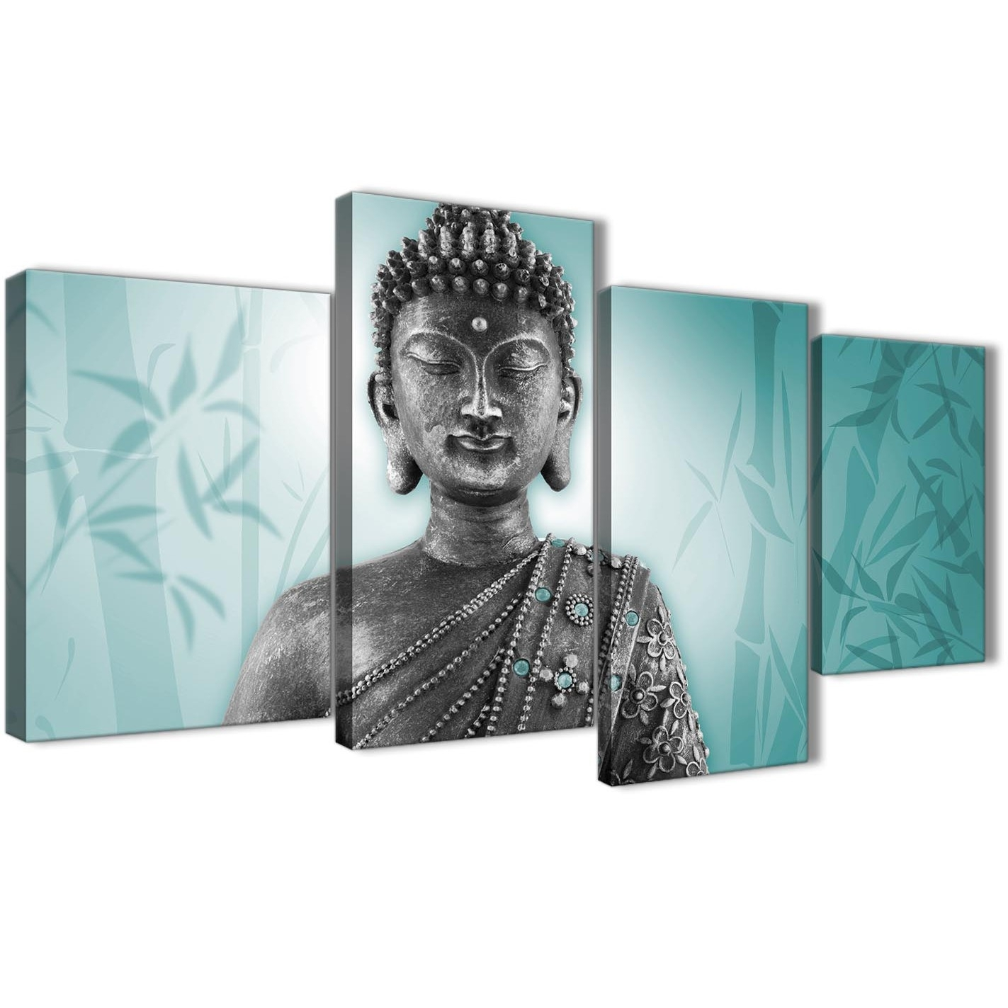 Large Teal And Grey Silver Canvas Art Prints Of Buddha - Split 4 Set pertaining to Oversized Teal Canvas Wall Art (Image 14 of 20)