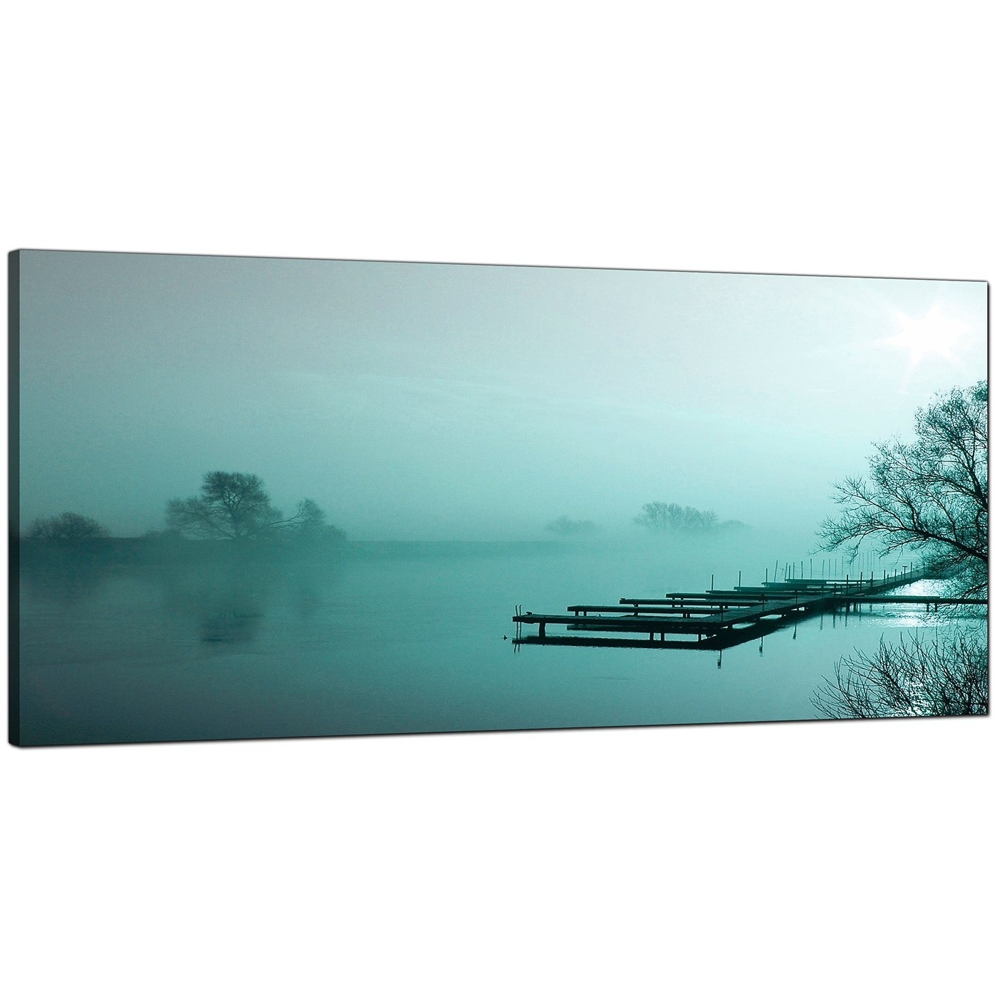 Large Teal Canvas Art Of A River Landscape with Teal Wall Art (Image 9 of 20)