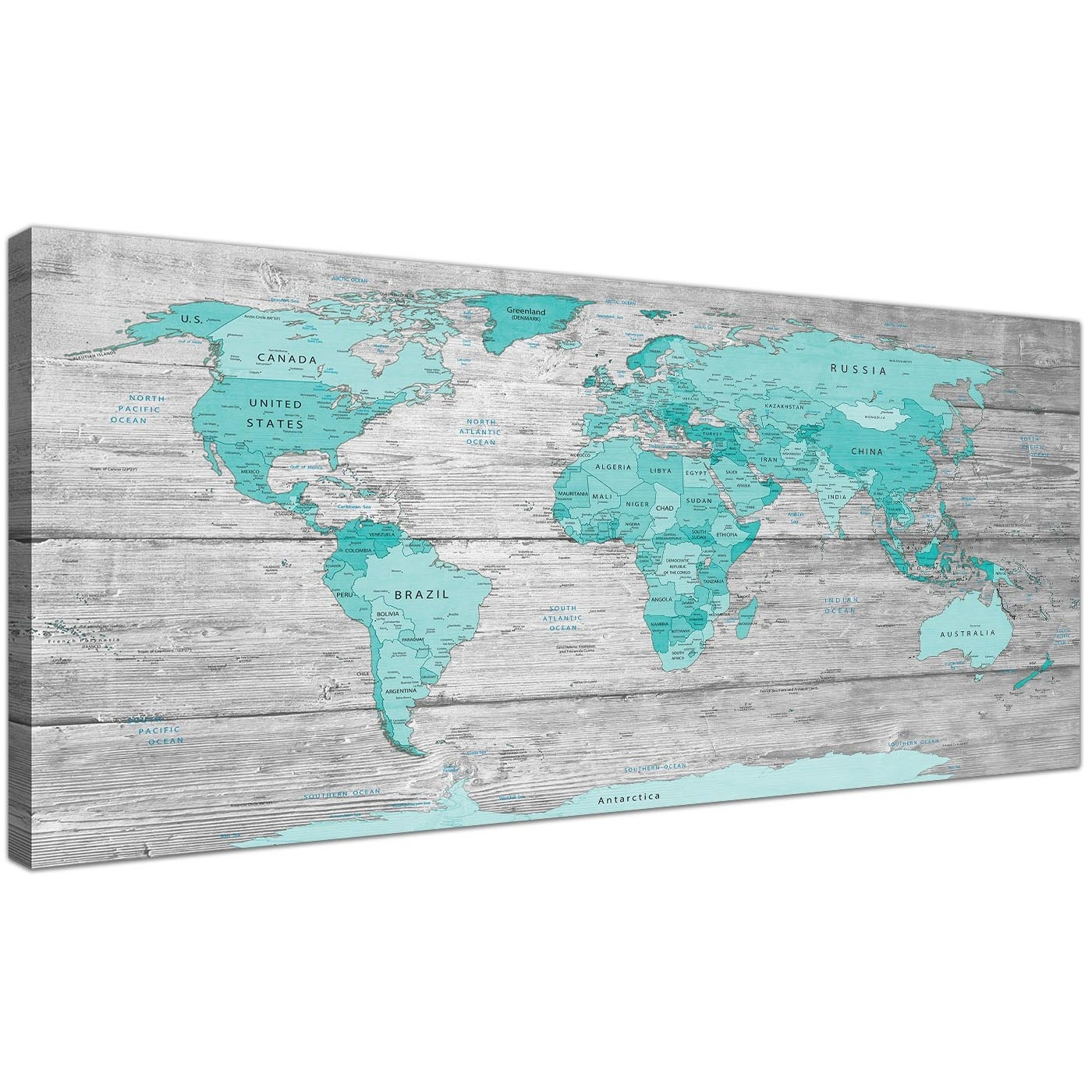 Large Teal Grey Map Of World Atlas Canvas Wall Art Print 120Cm Wide intended for Oversized Teal Canvas Wall Art (Image 15 of 20)