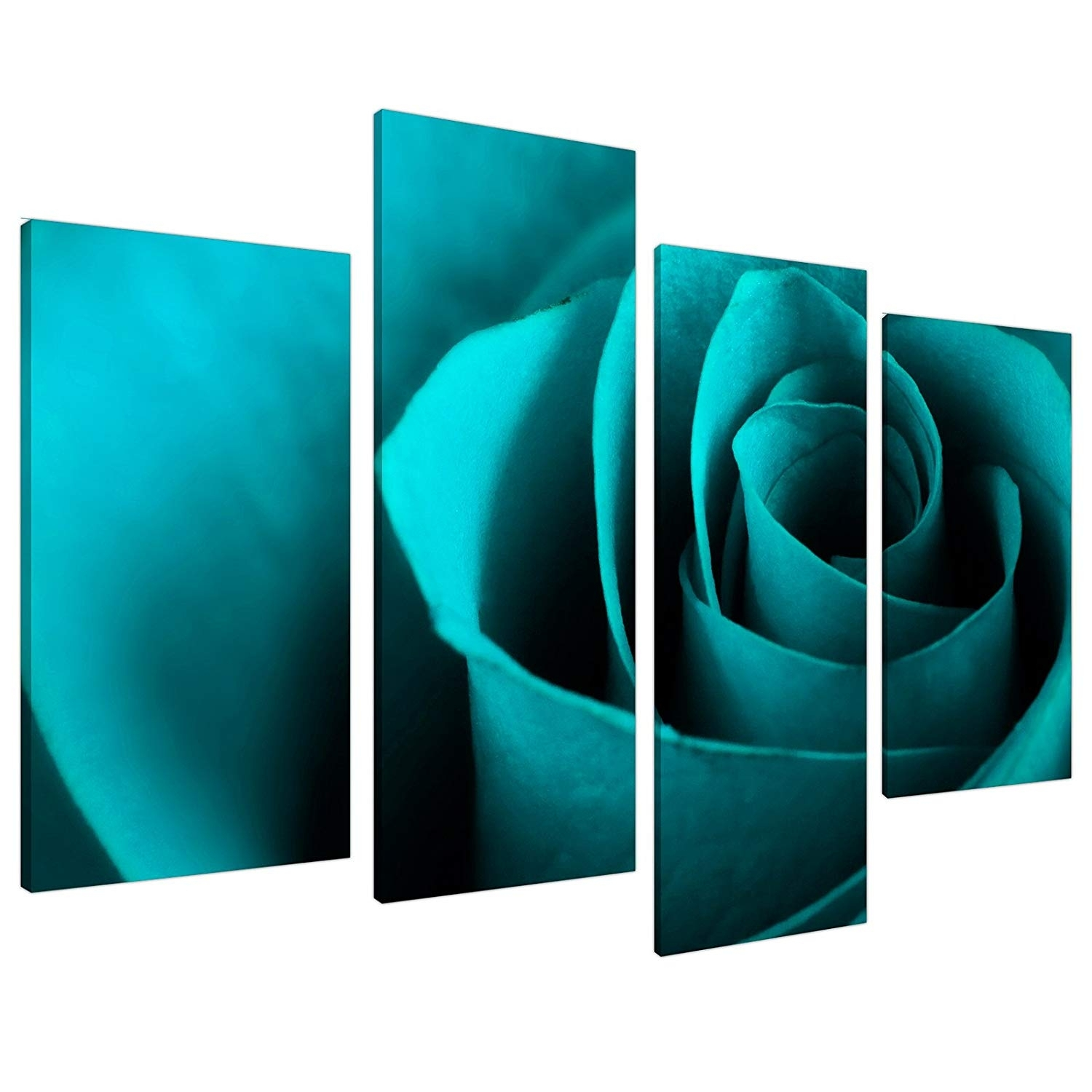 Large Teal Turquoise Floral Canvas Wall Art Pictures Xl Prints 4109 within Teal Wall Art (Image 10 of 20)