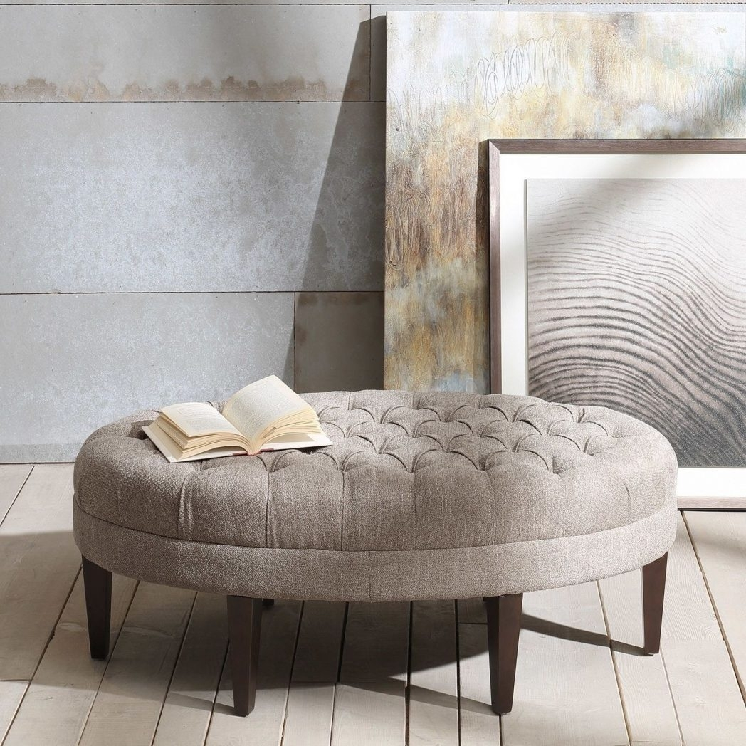 Large Tufted Ottoman Regency Style Velvet Or Coffee Table Round within Round Button Tufted Coffee Tables (Image 13 of 30)