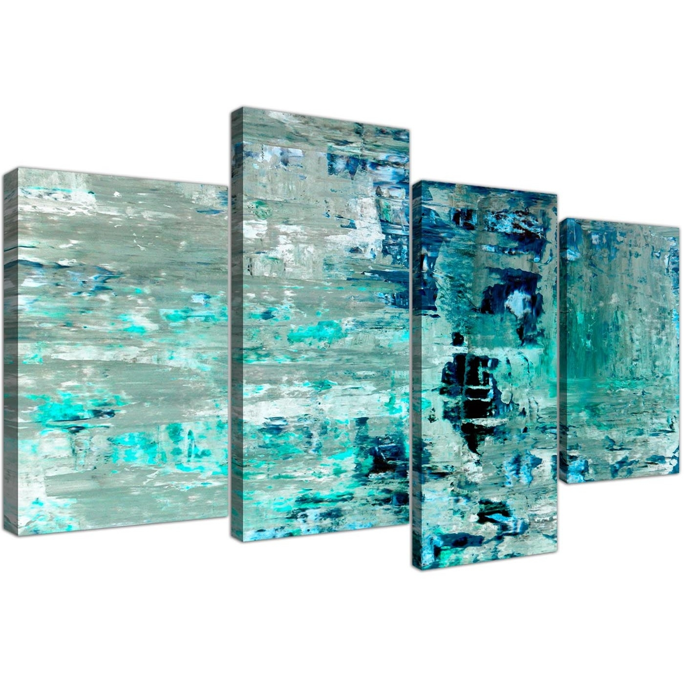 Large Turquoise Teal Abstract Painting Wall Art Print Canvas - Multi within Teal Wall Art (Image 11 of 20)