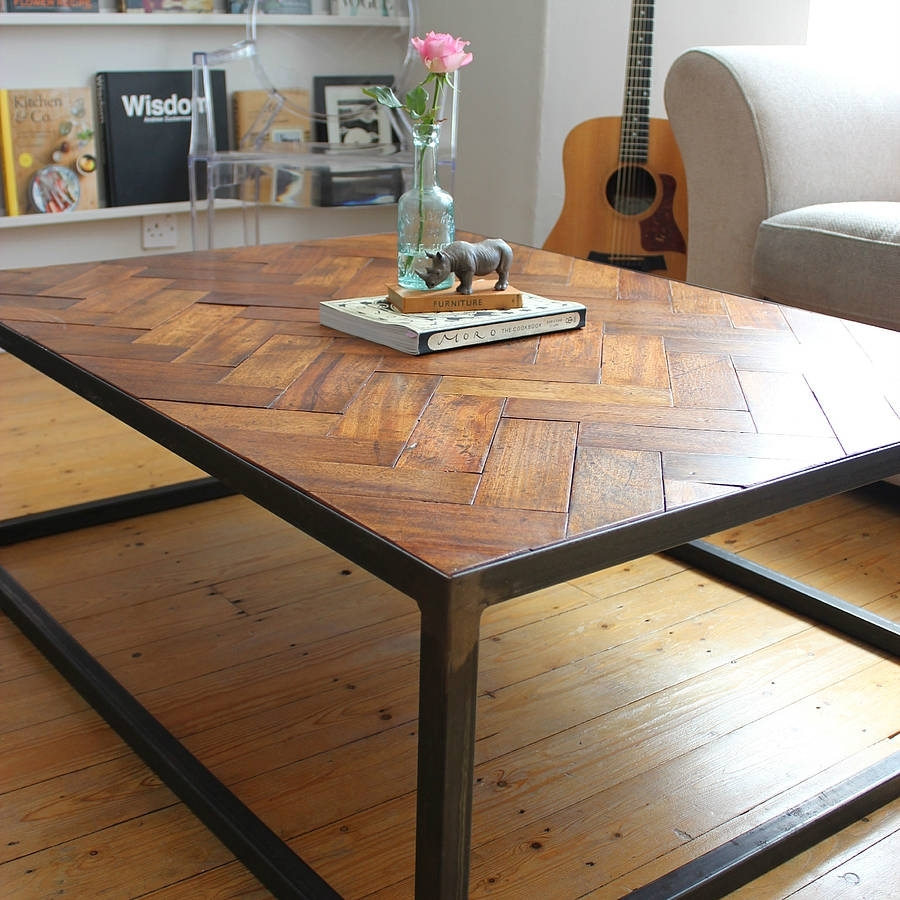 Large Upcycled Parquet Floor Coffee Tableruby Rhino Temporary intended for Parquet Coffee Tables (Image 18 of 30)