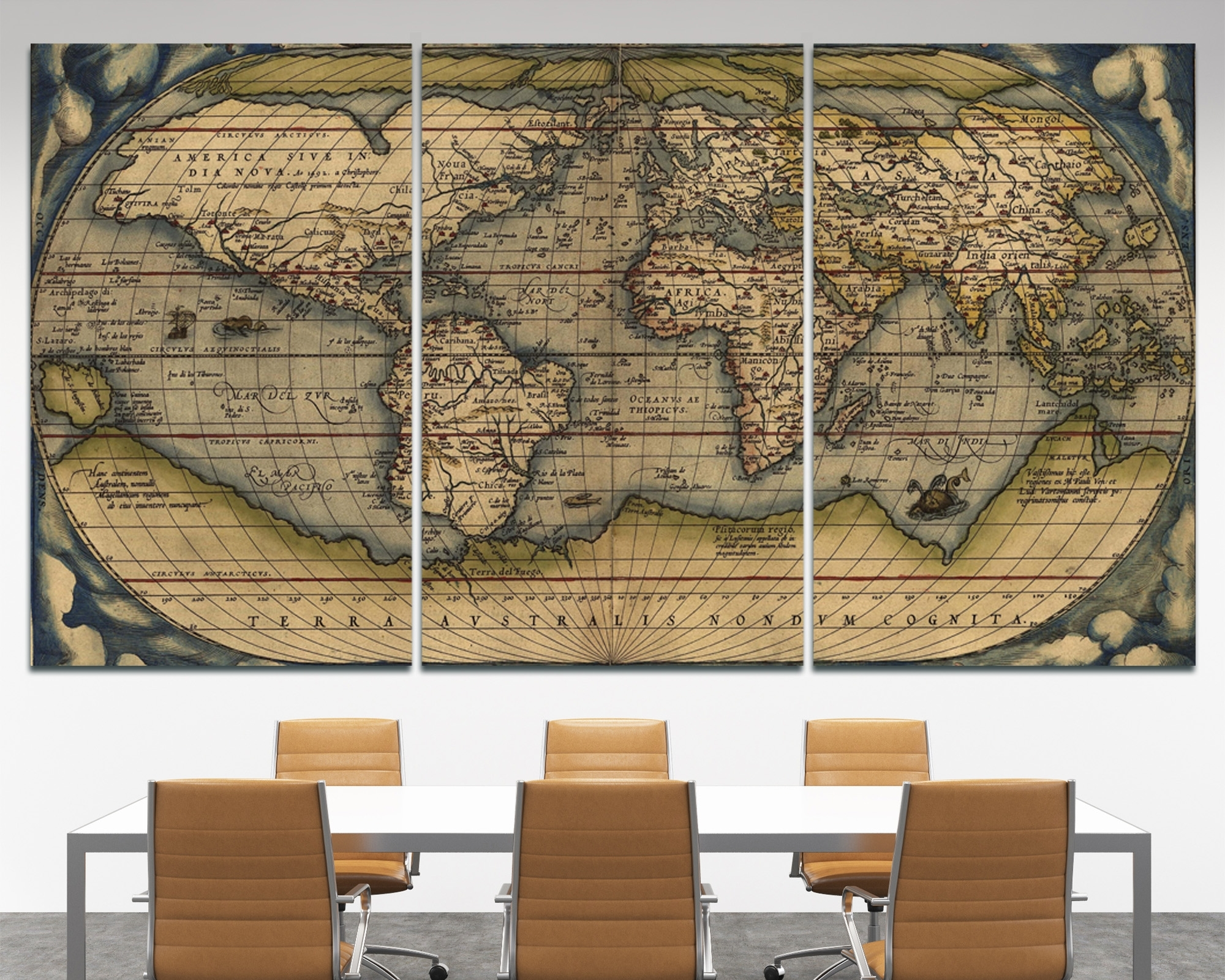 Large Vintage Wall Art Old World Map At Texelprintart. Map Of Decor inside Old World Map Wall Art (Image 6 of 20)