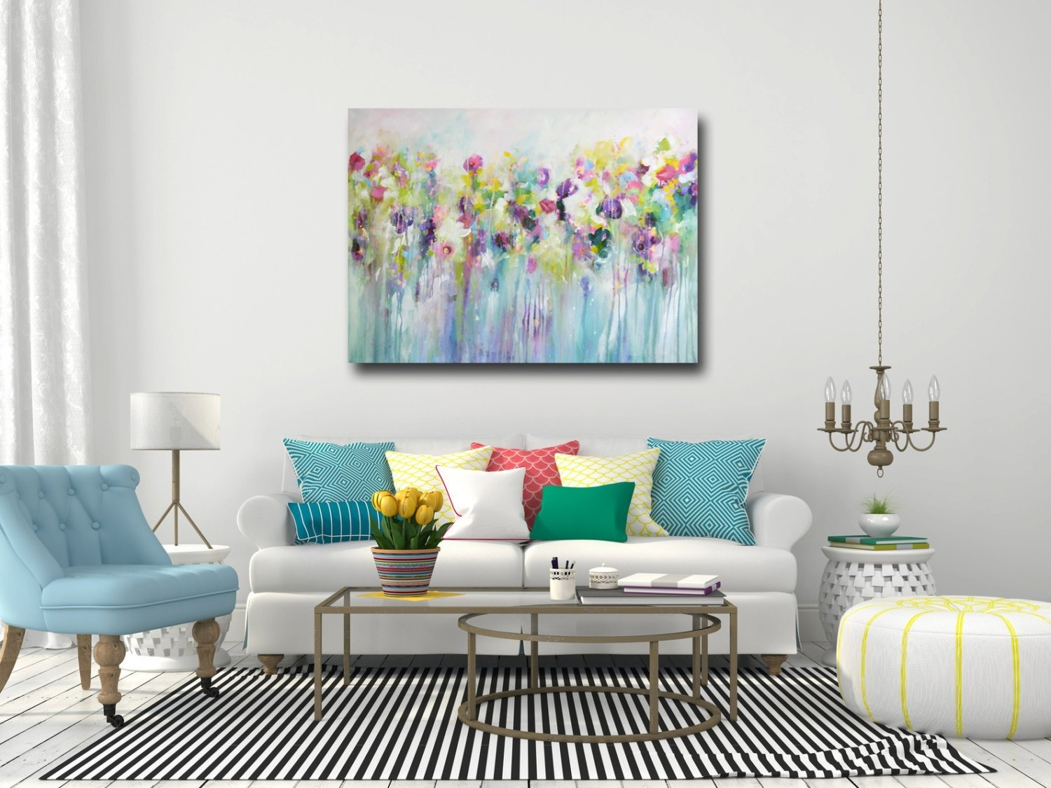 Large Wall Art Canvas Art Abstract Floral Canvas Print, Oversized intended for Abstract Oversized Canvas Wall Art (Image 14 of 20)