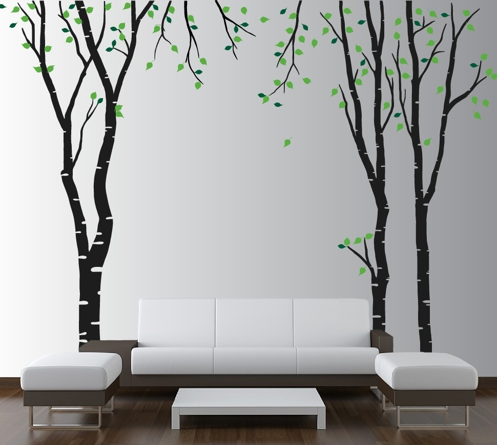 Large Wall Birch Tree Decal Forest Kids Vinyl Sticker Removable With in Tree Wall Art (Image 9 of 20)