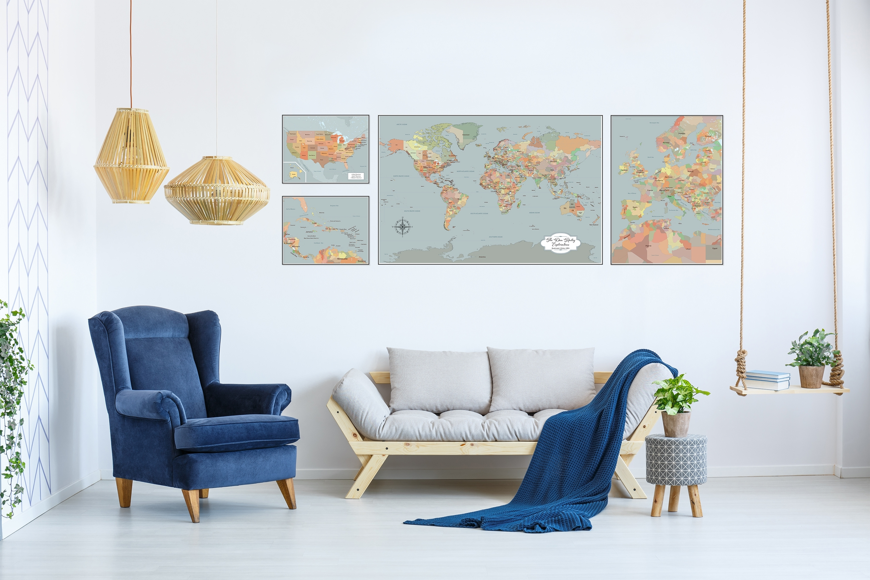 Large World Map Wall Art, Set Of 4 Push Pin Maps With Pins, Personalized throughout Map Wall Art (Image 7 of 20)