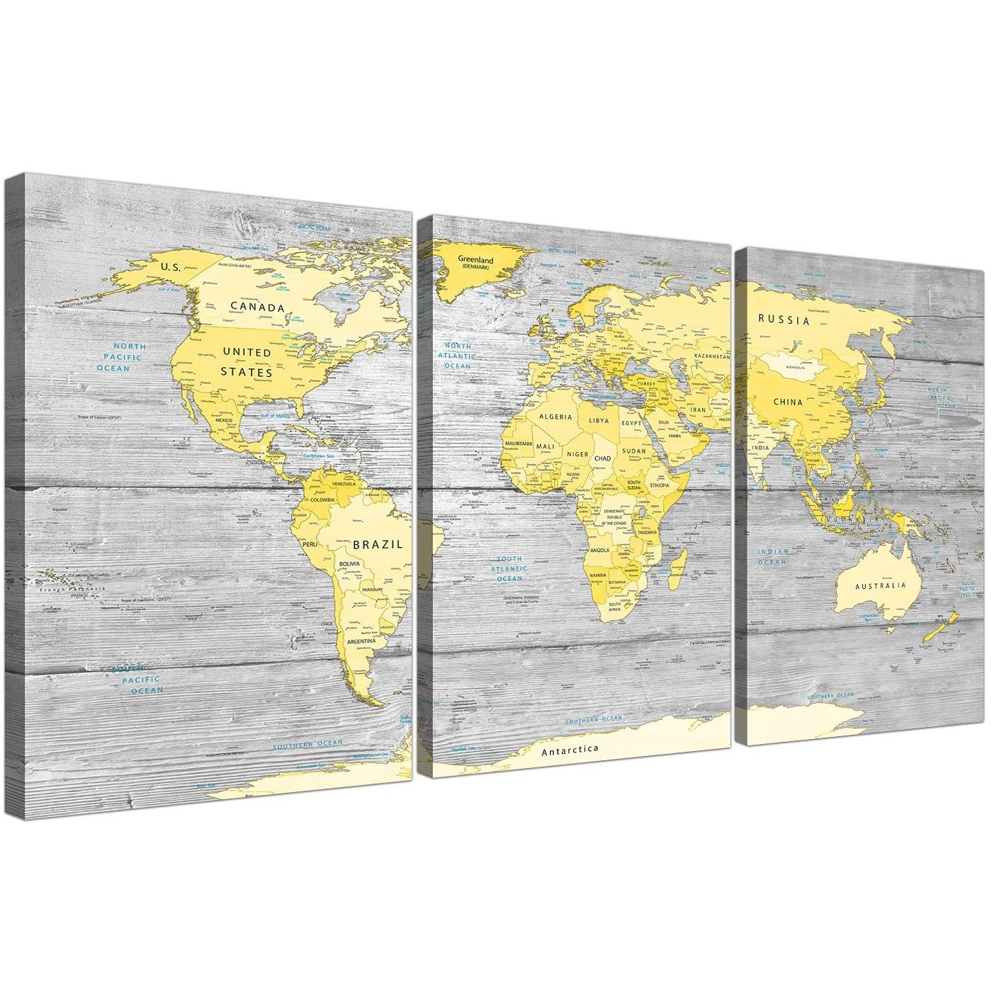 Large Yellow Grey Map Of World Atlas Canvas Wall Art Print for Maps Wall Art (Image 9 of 20)