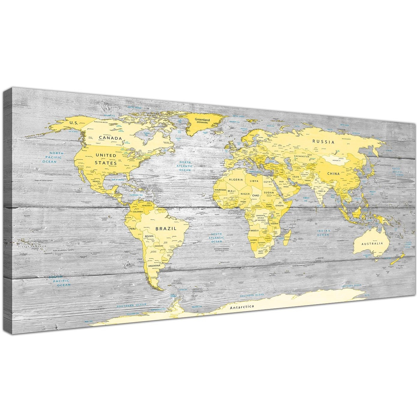Large Yellow Grey Map Of World Atlas Canvas Wall Art Print - Maps with Yellow and Gray Wall Art (Image 11 of 20)