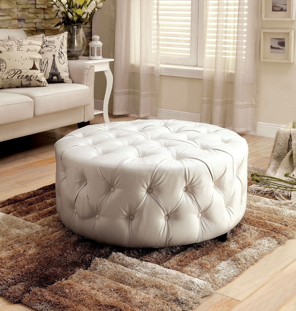 Latoya White Bonded Leather Round Button Tufted Ottoman Throughout Button Tufted Coffee Tables (Photo 19 of 30)