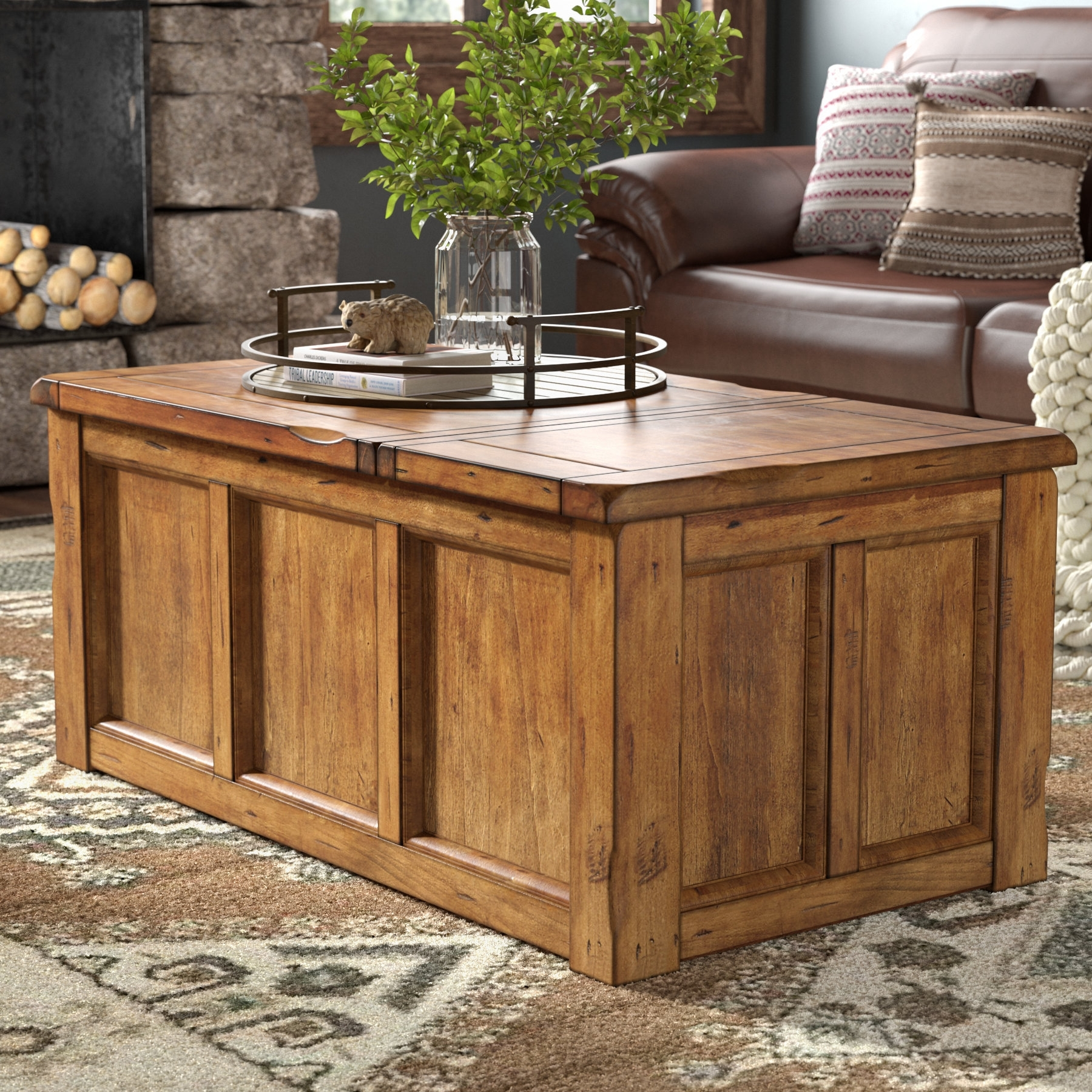 Laurel Foundry Modern Farmhouse Baggarly Coffee Table With Lift Top inside Chiseled Edge Coffee Tables (Image 12 of 30)