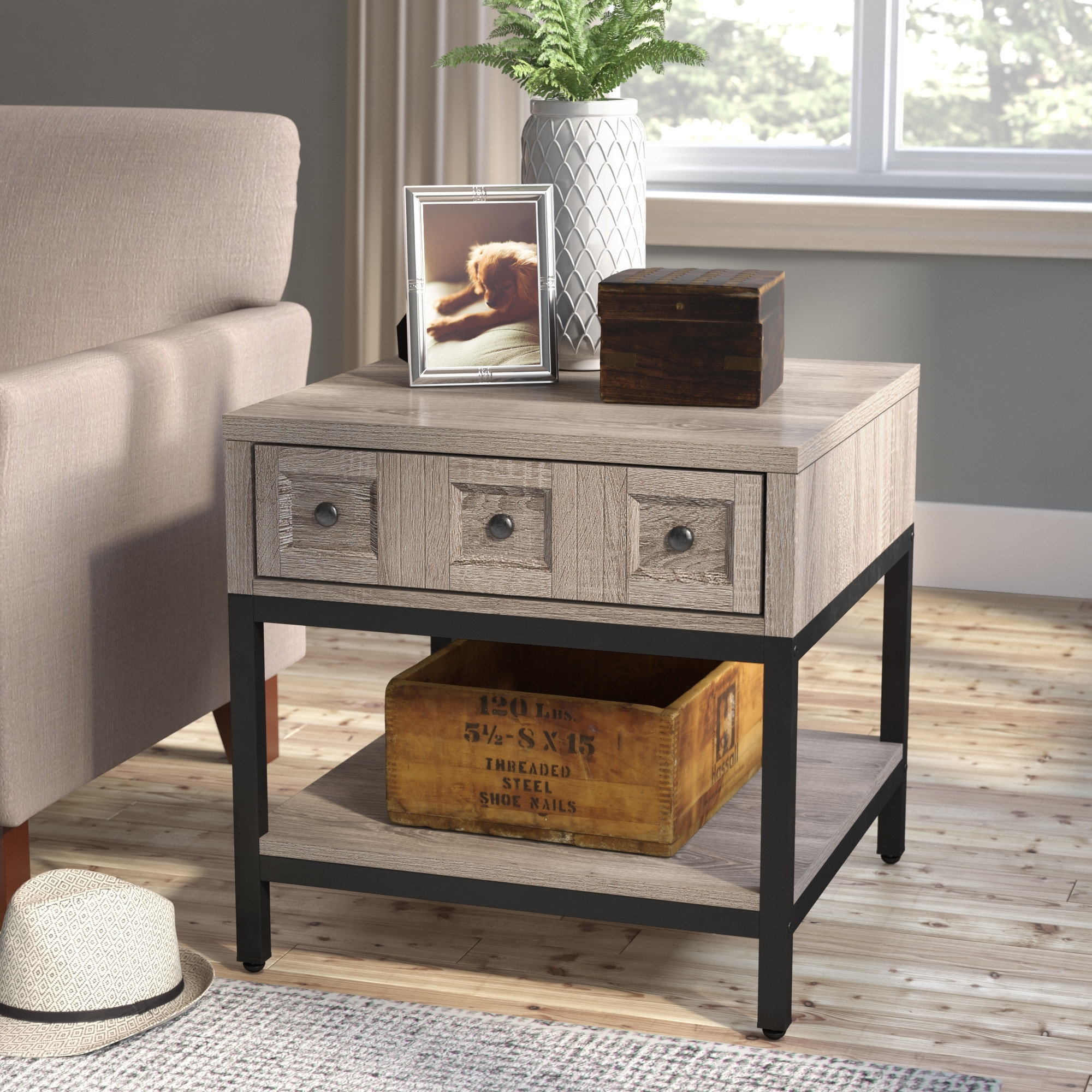 Laurel Foundry Modern Farmhouse Omar End Table With Storage For Large Scale Chinese Farmhouse Coffee Tables (View 15 of 30)