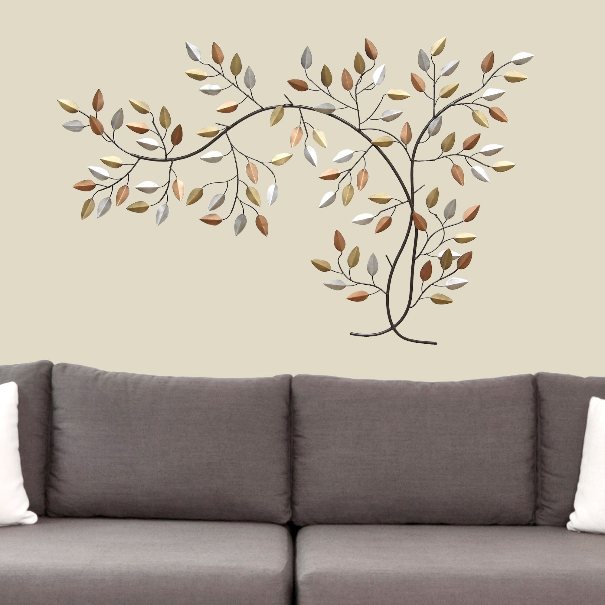 Leaf Branch Metal Wall Art Pertaining To Metallic Wall Art (View 3 of 20)