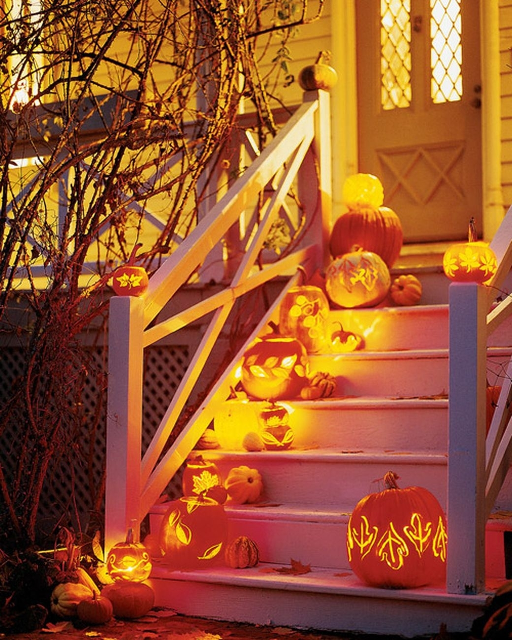 Leaf-Carved Pumpkin Lanterns | Outdoor Halloween Decorations And with regard to Outdoor Pumpkin Lanterns (Image 12 of 20)