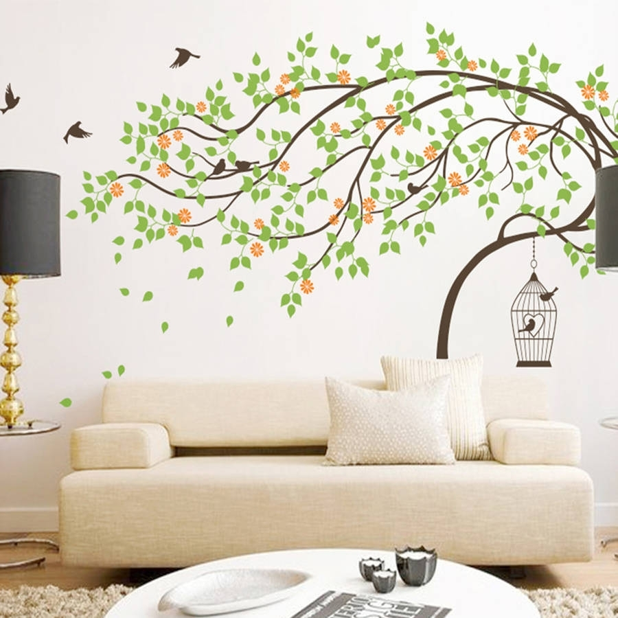 Leaning Tree With Birds And Birdcage Wall Stickerwall Art pertaining to Tree Wall Art (Image 11 of 20)