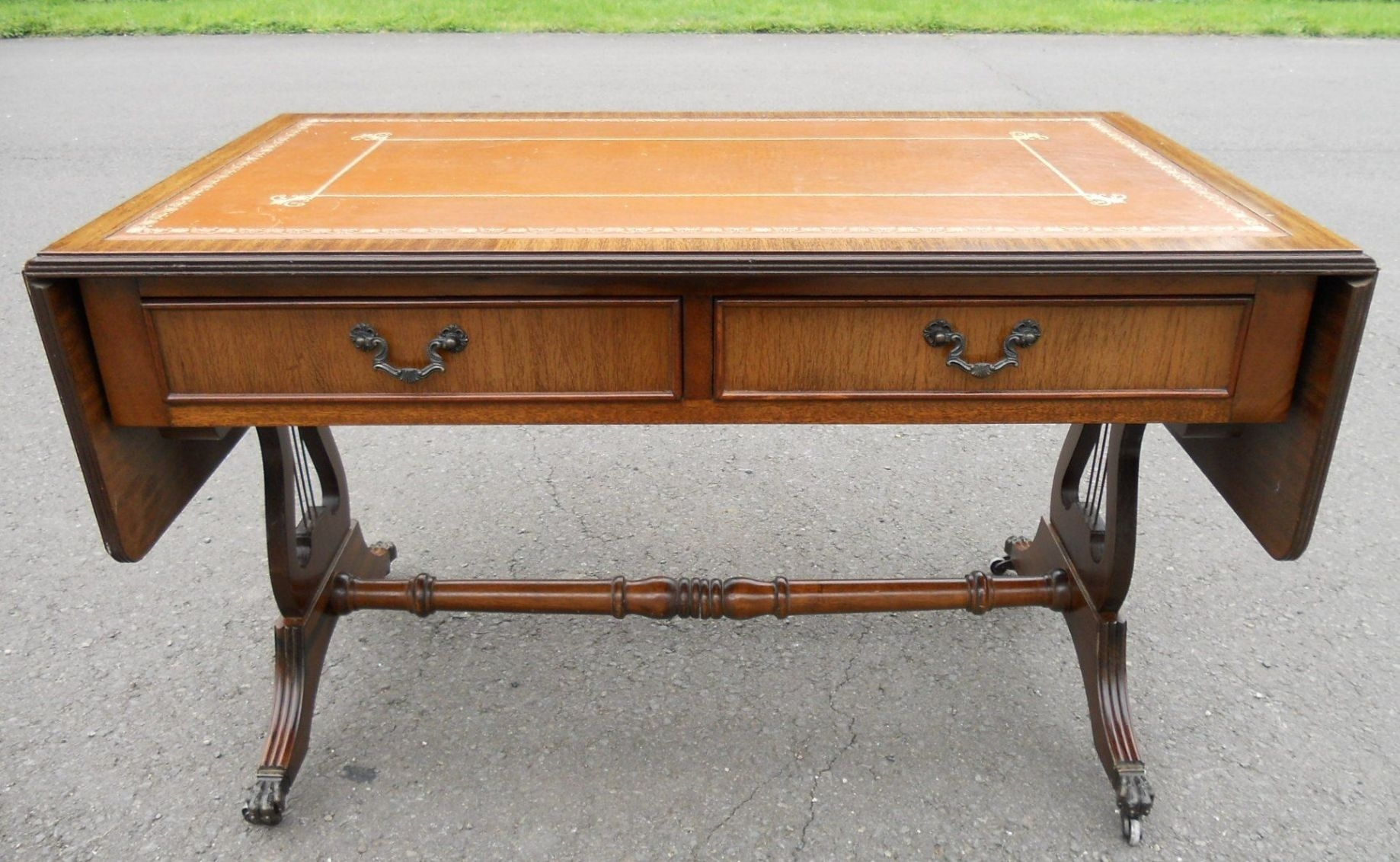 Leather Top Dropleaf Mahogany Coffee Table - Sold for Lyre Coffee Tables (Image 15 of 30)