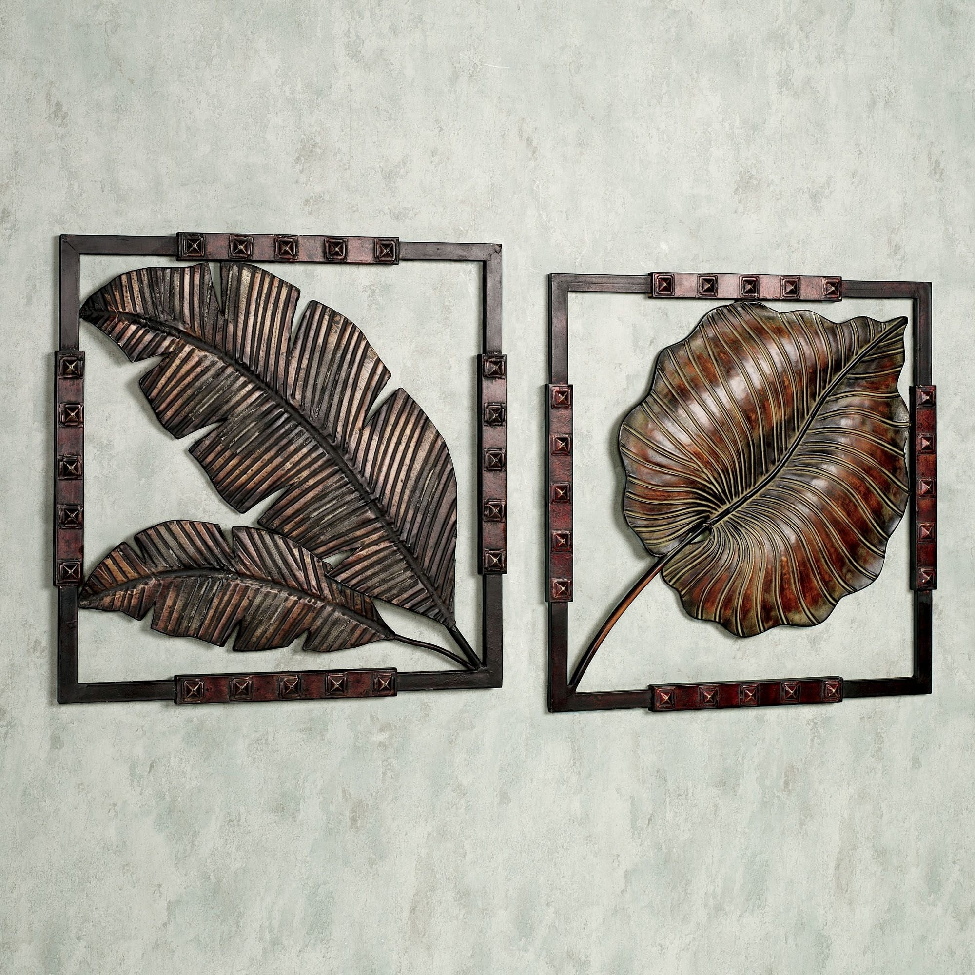 Leaves Motifs Tropical Metal Wall Art Squared Hanging Sensational With Regard To Tropical Wall Art (View 4 of 20)