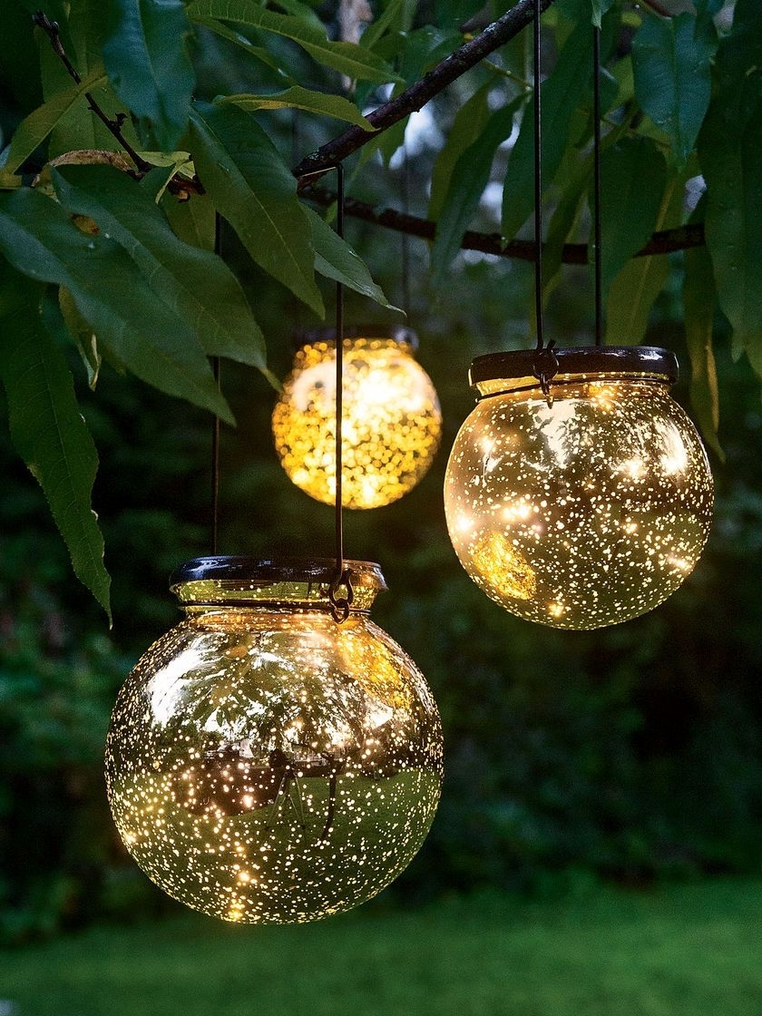 Led Fairy Dust Ball: Outdoor Battery Operated Globe Lights - Mercury within Outdoor Battery Lanterns for Patio (Image 11 of 20)