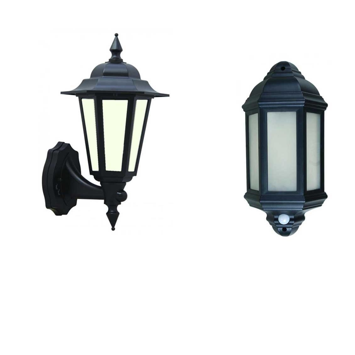 Led Outdoor Garden Wall Half Lantern Pir Black Ip44 External 7 Watt in Outdoor Lanterns With Pir (Image 11 of 20)