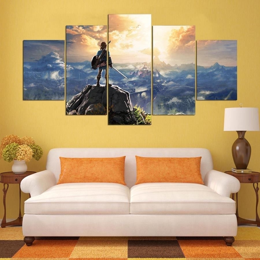 Legend Of Zelda Wall Art 5 Piece Canvas Prints Set Kid Bedroom Home in 5 Piece Wall Art (Image 18 of 20)