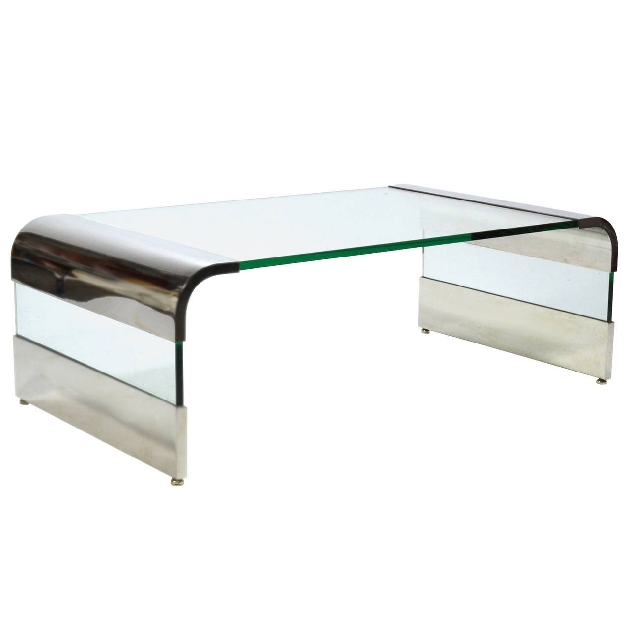 Leon Rosen Chrome And Glass Waterfall Coffee Tablepace For Sale pertaining to Waterfall Coffee Tables (Image 16 of 30)