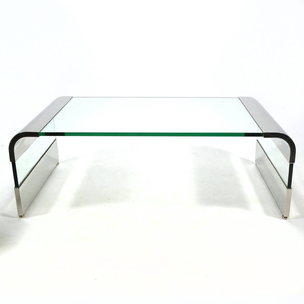Leon Rosen Chrome And Glass Waterfall Coffee Tablepace For Sale with Square Waterfall Coffee Tables (Image 11 of 30)