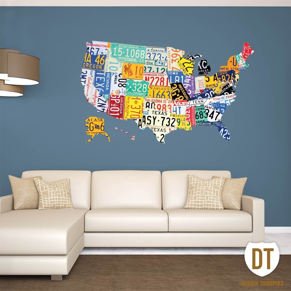 License Plate Wall Art | License Plate Usa Map In License Plate Map Wall Art (View 15 of 20)