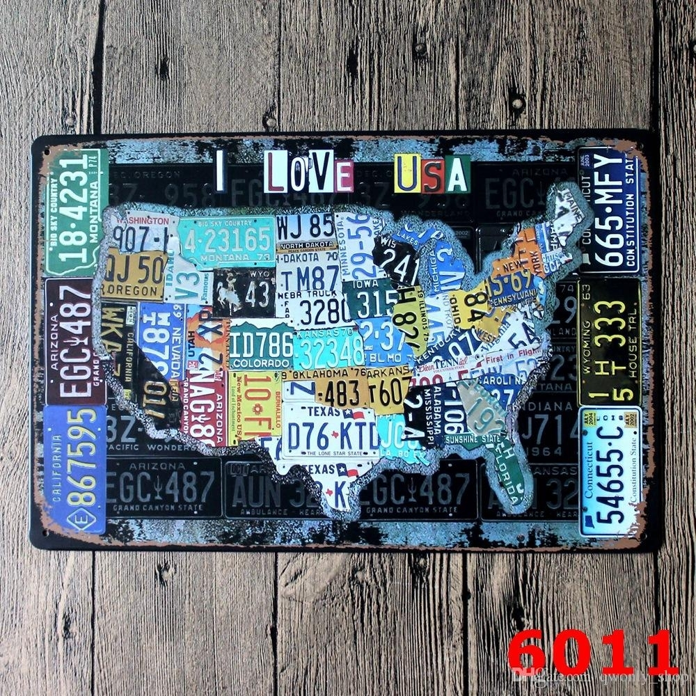 License Plates Map Vintage Tin Sign Bar Pub Home Wall Decor European With Regard To License Plate Map Wall Art (View 10 of 20)