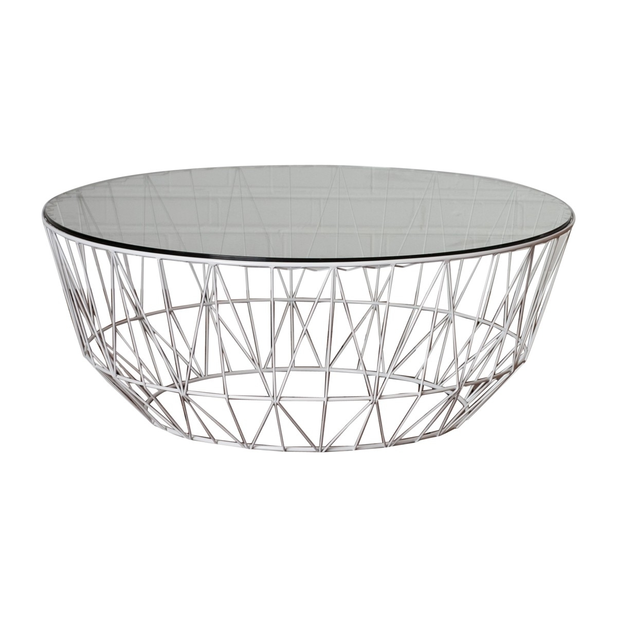 Life Interiors - Studio Wire Glass Coffee Table (White) - Modern regarding Black Wire Coffee Tables (Image 14 of 30)
