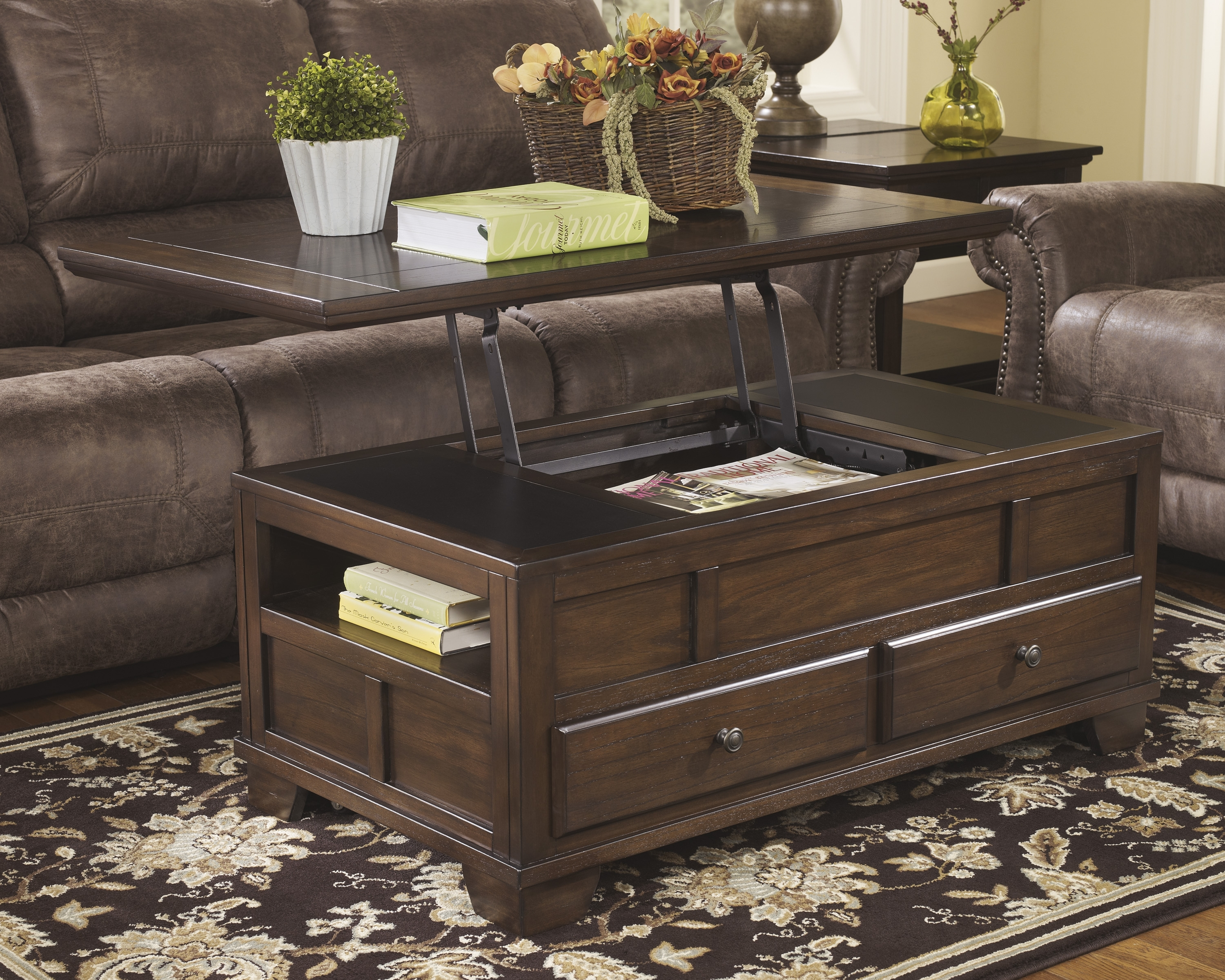 Lift Top Coffee Table Ashley Furniture — Photo Designs : Beautiful throughout Chiseled Edge Coffee Tables (Image 13 of 30)