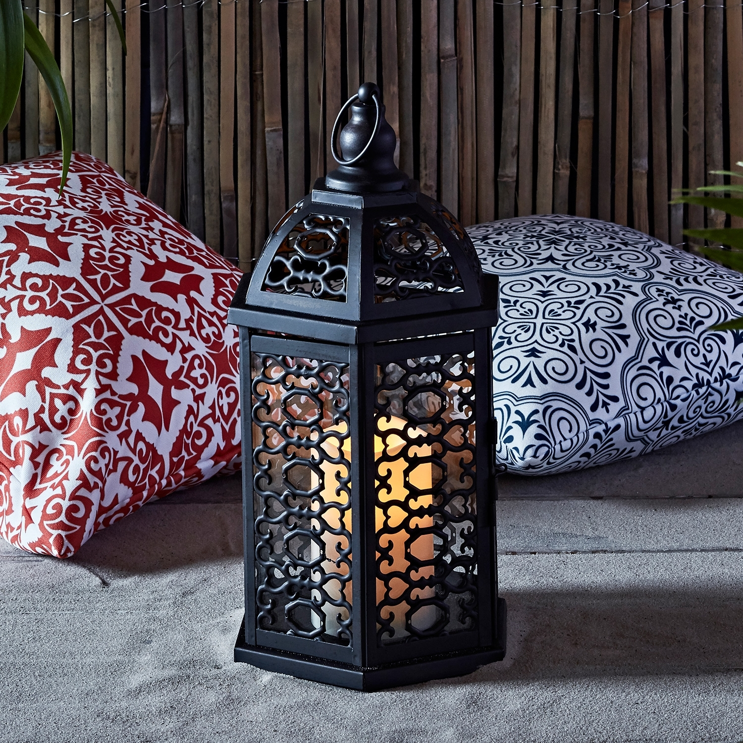 Lights4Fun, Inc.: Moroccan Black Metal Battery Operated Outdoor Led with Moroccan Outdoor Electric Lanterns (Image 9 of 20)