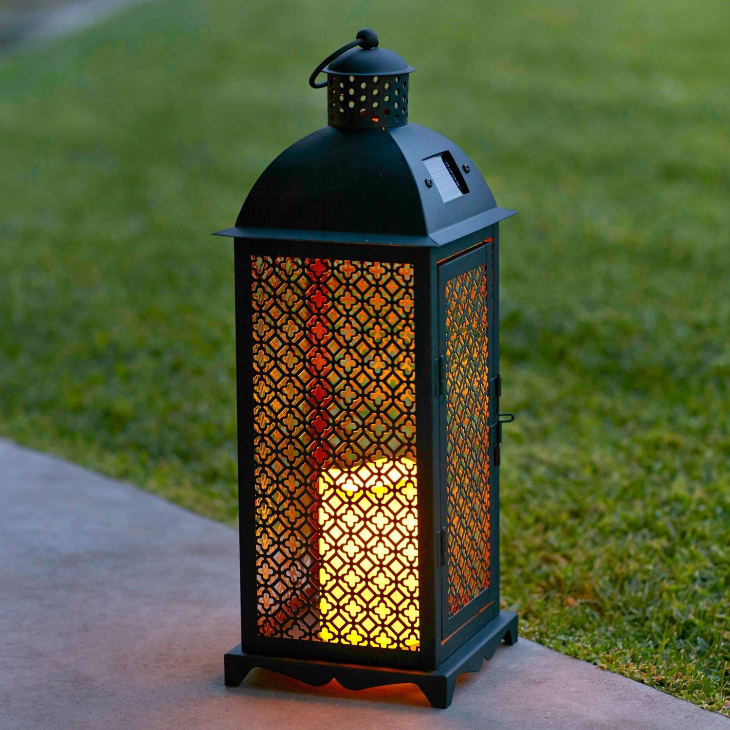 Lights4Fun, Inc.: Moroccan Solar Powered Led Garden Flameless Candle with regard to Jumbo Outdoor Lanterns (Image 10 of 20)