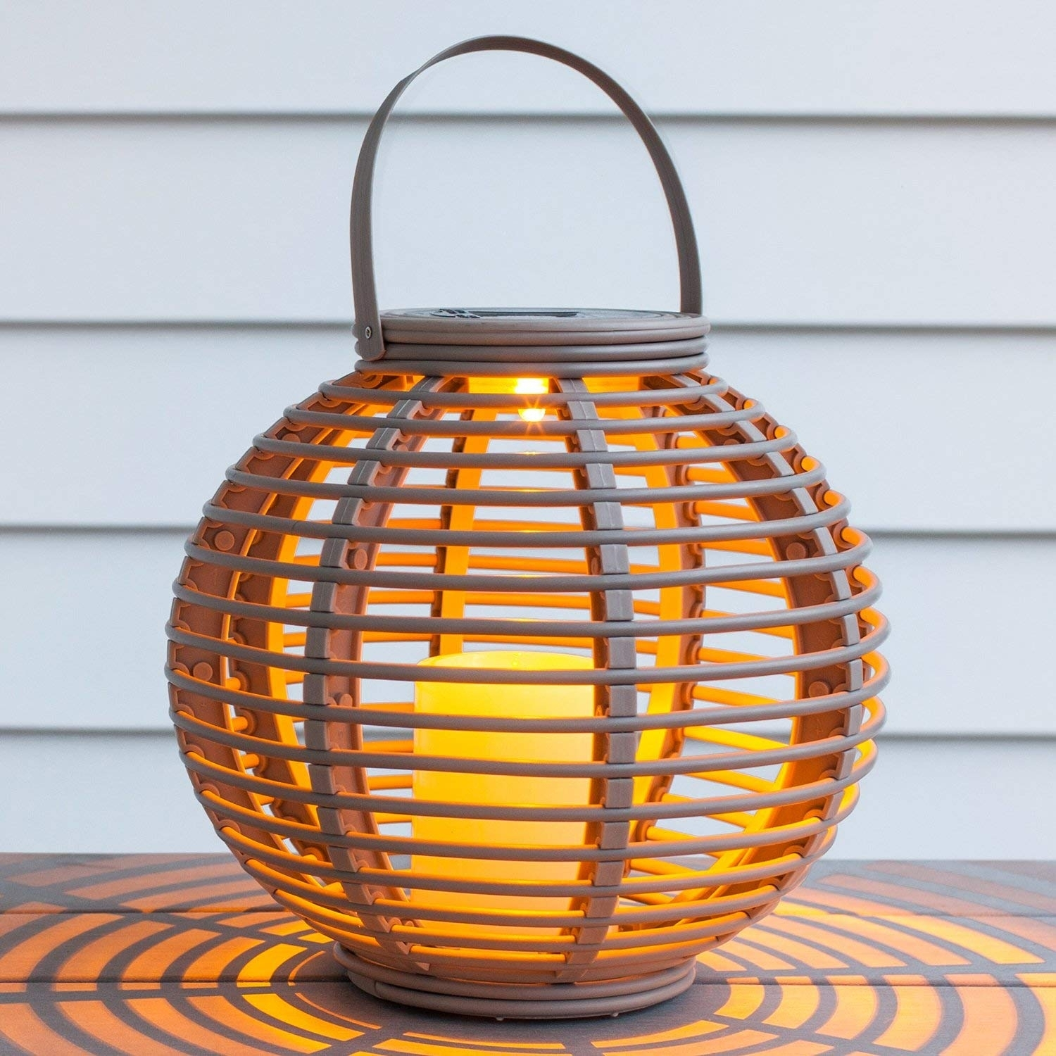 Lights4Fun Set Of 2 Rattan Solar Powered Led Garden Lanterns For Outdoor Rattan Lanterns (View 8 of 20)