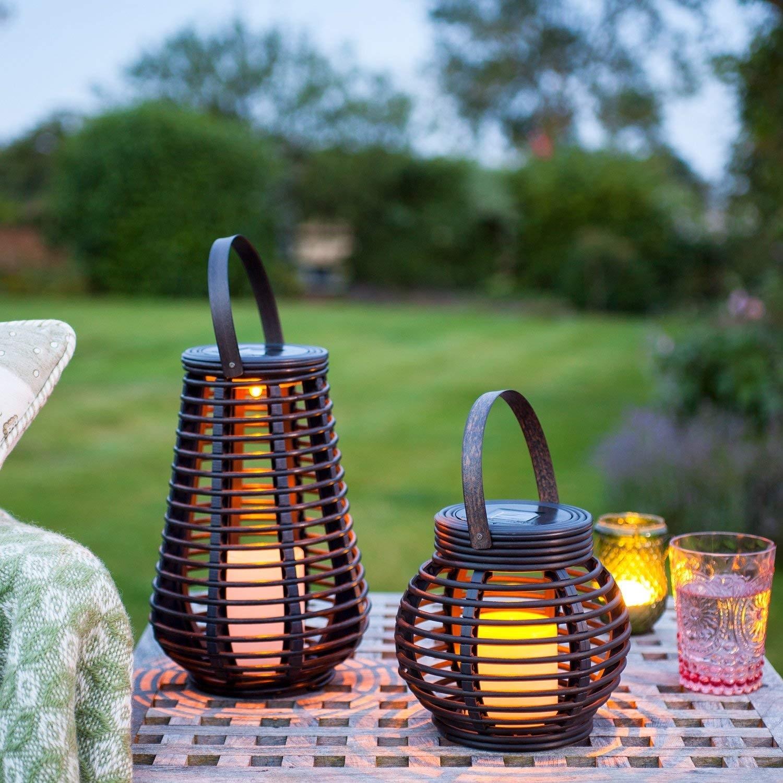 Lights4Fun Set Of 2 Rattan Solar Powered Led Garden Lanterns throughout Outdoor Rattan Lanterns (Image 9 of 20)