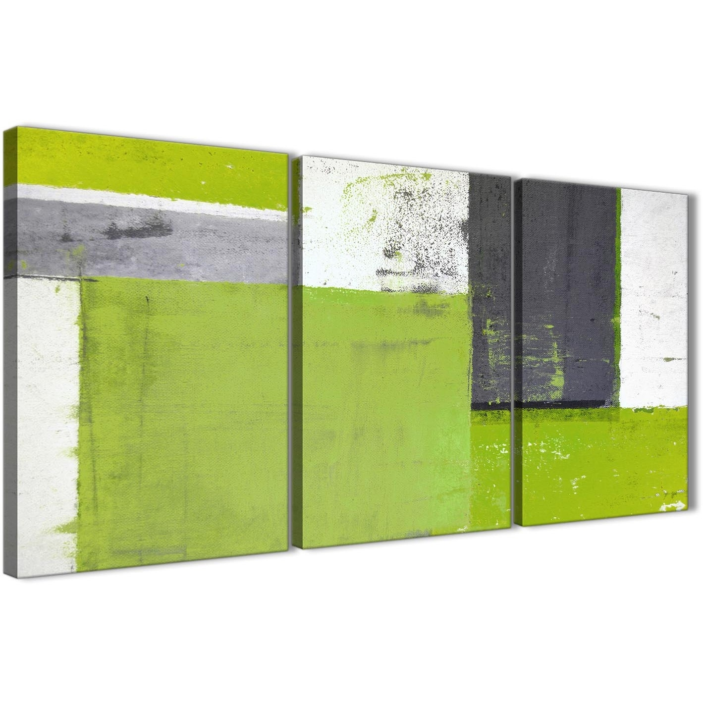 Lime Green Grey Abstract Painting Canvas Wall Art Print - Multi Set intended for Green Wall Art (Image 13 of 20)