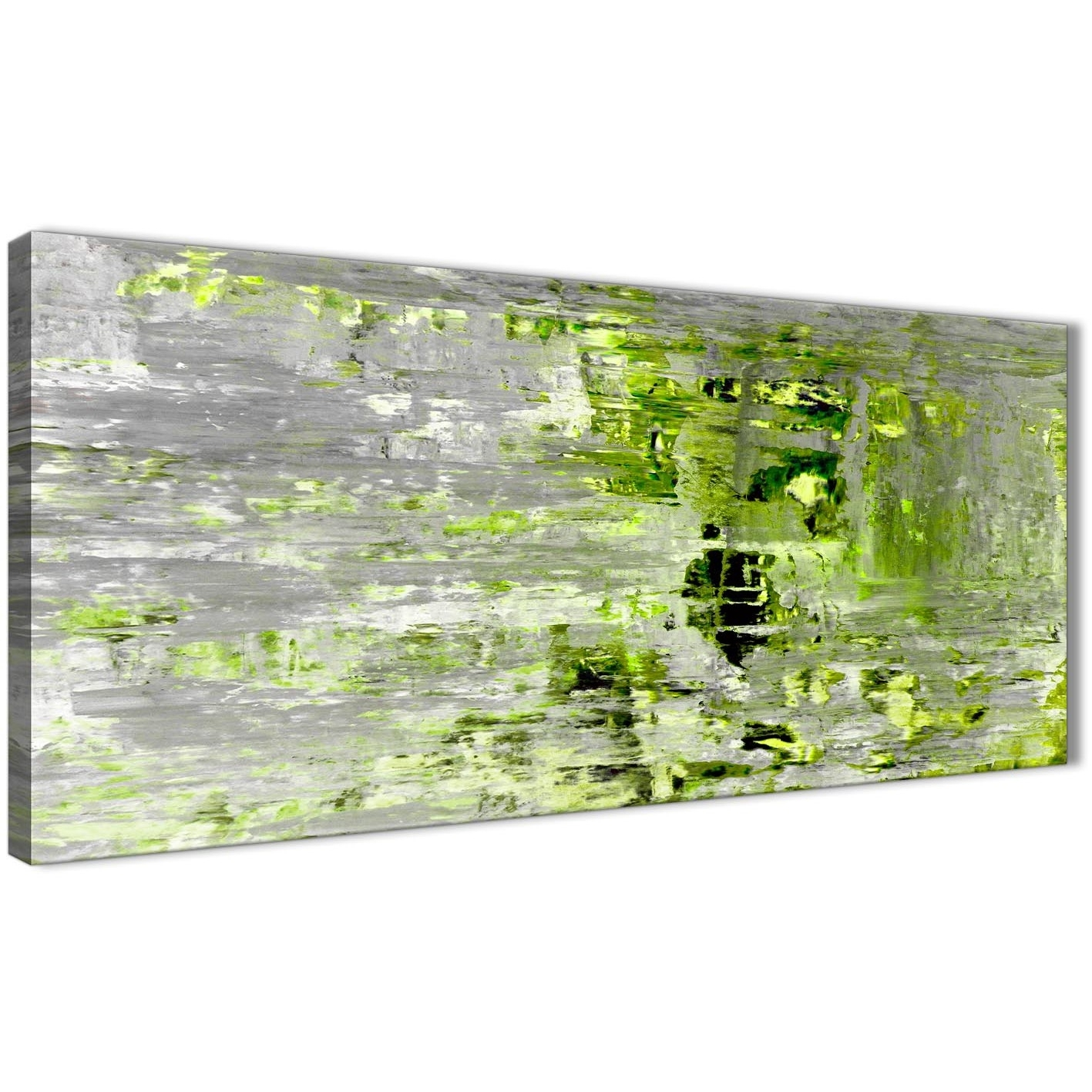 Lime Green Grey Abstract Painting Wall Art Print Canvas – Modern Throughout Green Wall Art (View 14 of 20)