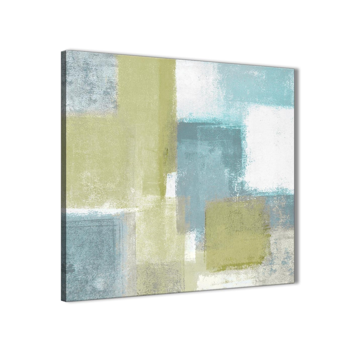 Lime Green Teal Abstract Painting Canvas Wall Art Print - Modern in Oversized Teal Canvas Wall Art (Image 16 of 20)