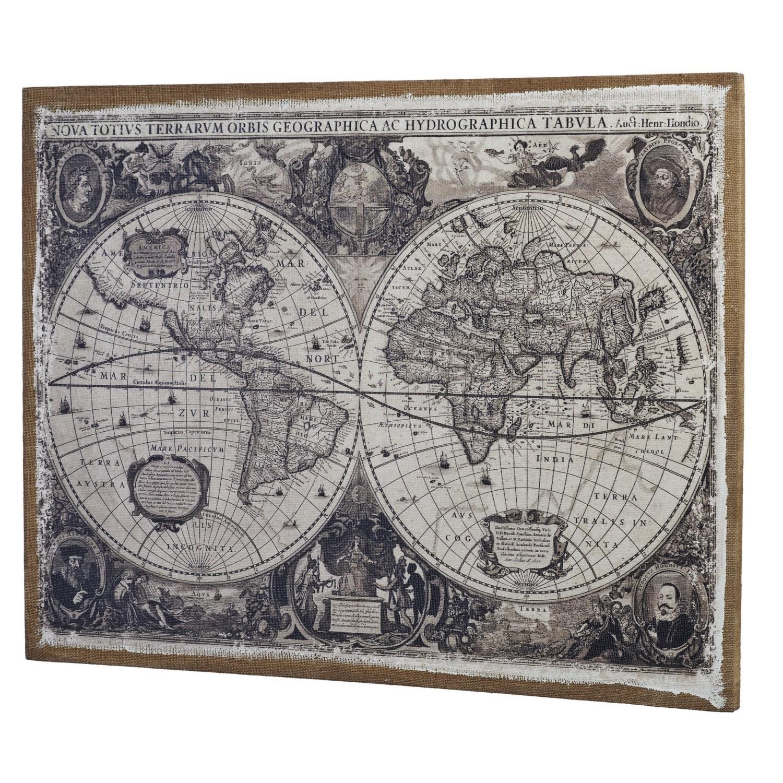 Linen World Map Wall Art In Wall Art Map Of World (View 18 of 20)