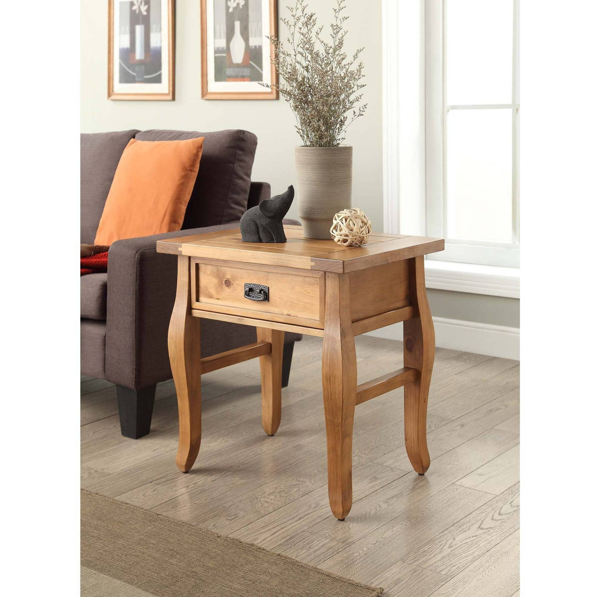 Linon Santa Fe End Table, Antique Finish, 24 Inches Tall – Walmart For Santa Fe Coffee Tables (View 3 of 30)