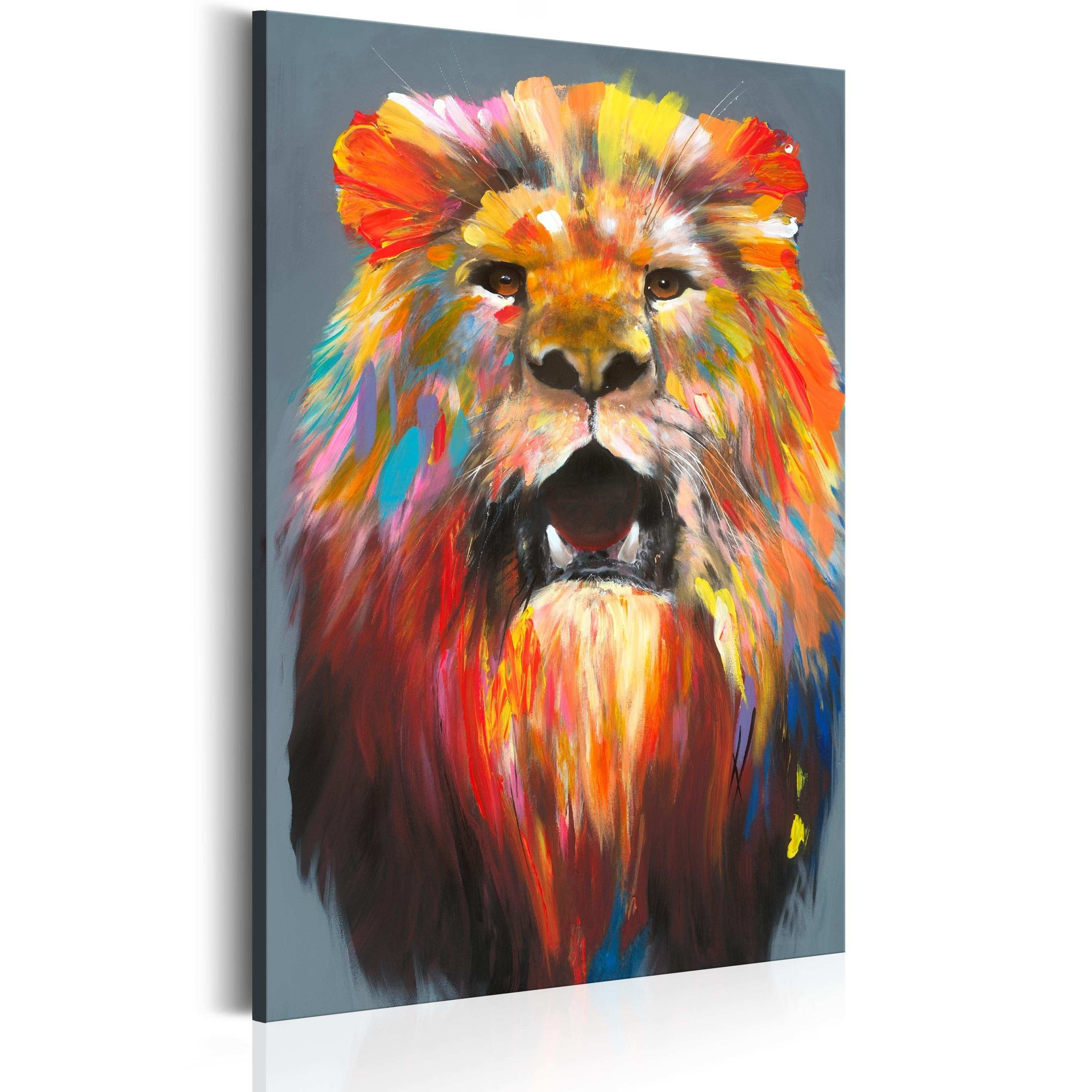Lion Canvas Wall Art Lovely Canvas Painting King Of Colours Cats In Cat Canvas Wall Art (View 13 of 20)